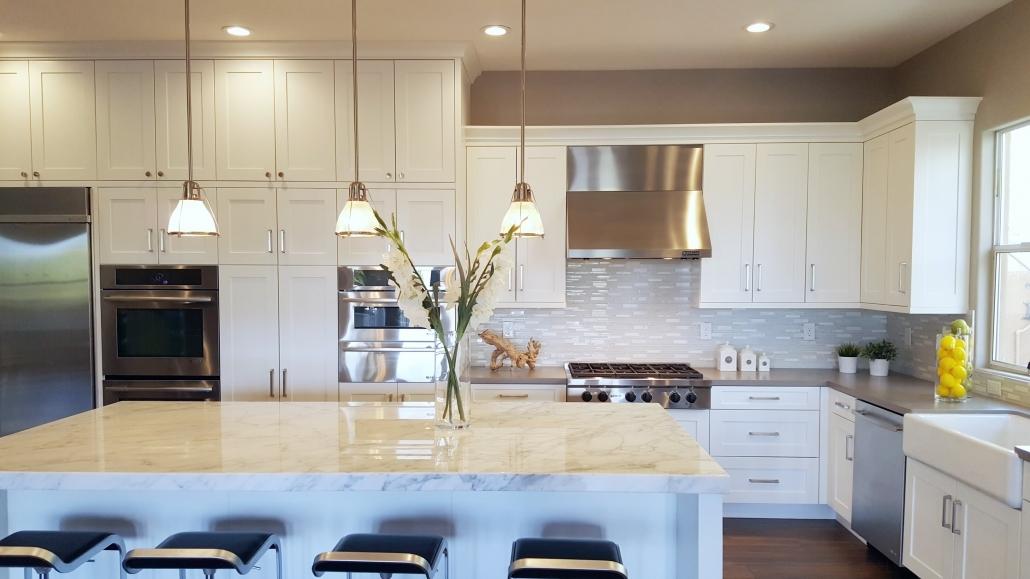 Big white kitchen cabinets design
