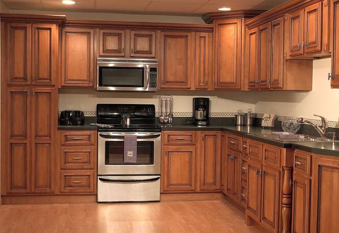 Big wood kitchen cabinets